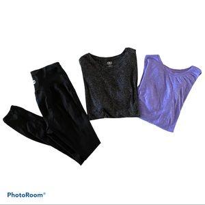 Athletic shirt bundle + Avia black tights …